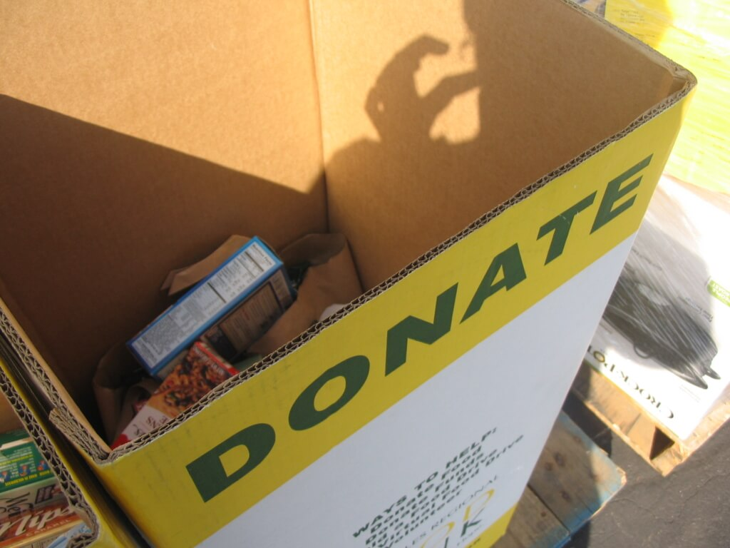 Donation boxes for the West Alabama Food Bank